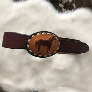 Tony Lama vintage leather belt sz S